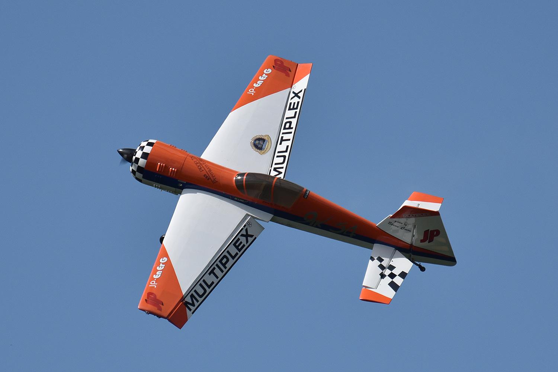 A large model plane flown by Steve Carr