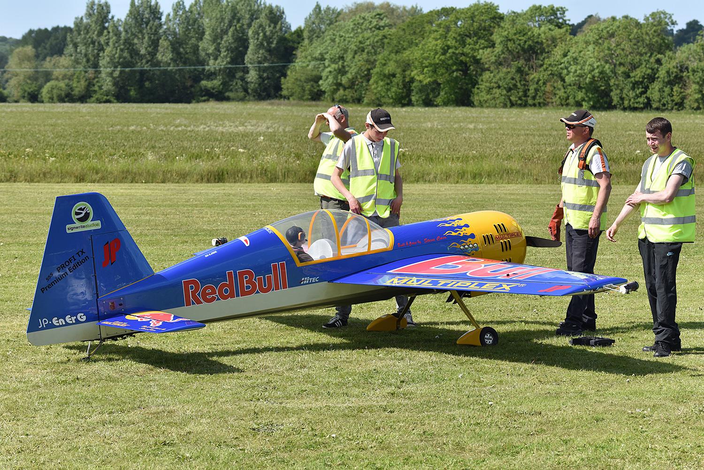 Preparing the Red Bull model for take off