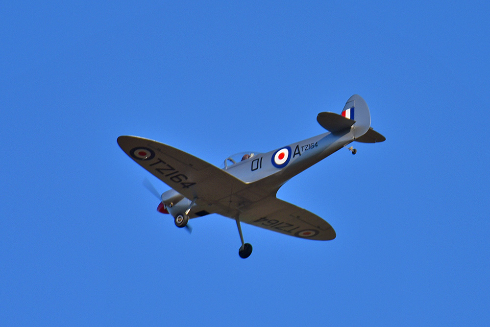 Picture of a Spitfire plane seen from behind