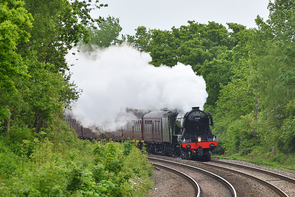 Picture of the Flying Scotsman steam locomotive in the distance