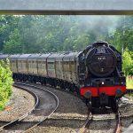 Picture of a steam locomotive passing under Aldermaston road bridge