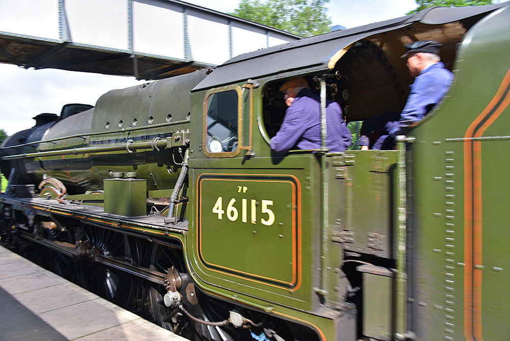 Picture of drivers on a steam locomotive