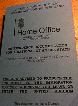 Picture of a UK residence documentation card