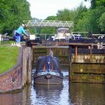 Picture of a boat leaving Aldermaston Lock