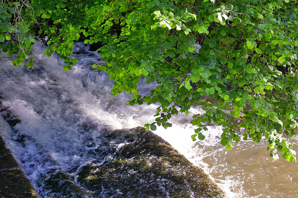 Picture of water rushing below a weir