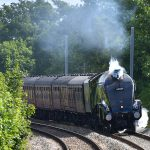 Picture of steam locomotive 60009 Union of South Africa blowing the whistle