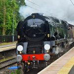 Picture of a steam train passing at a small train station