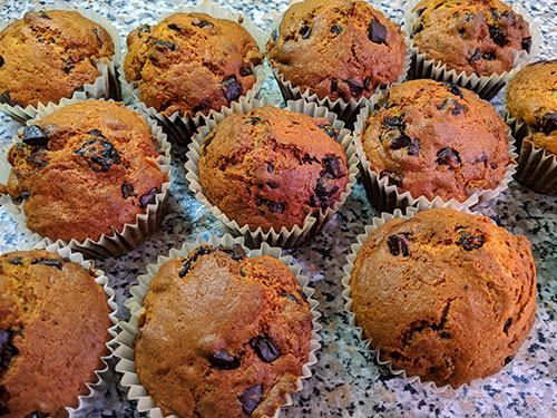Picture of Cherry & Chocolate Chip Muffins on a kitchen worktop