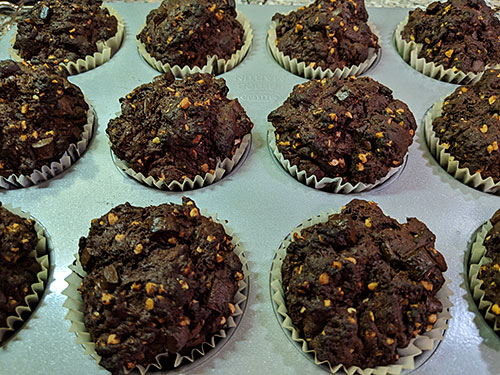 Picture of Dark Chocolate and Almond Muffins in a muffin tray