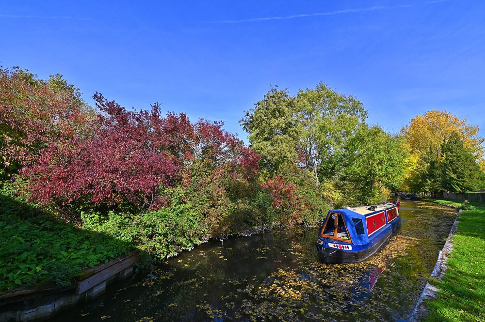 Picture of a canal boat cruising through fallen autumn leaves floating on a canal